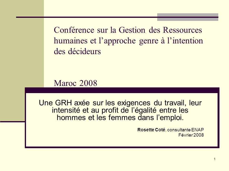 Conférence sur la Gestion des Ressources humaines et l'approche genre à l'intention des décideurs Maroc 2008