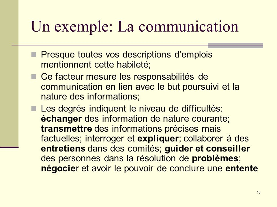 Un exemple: La communication