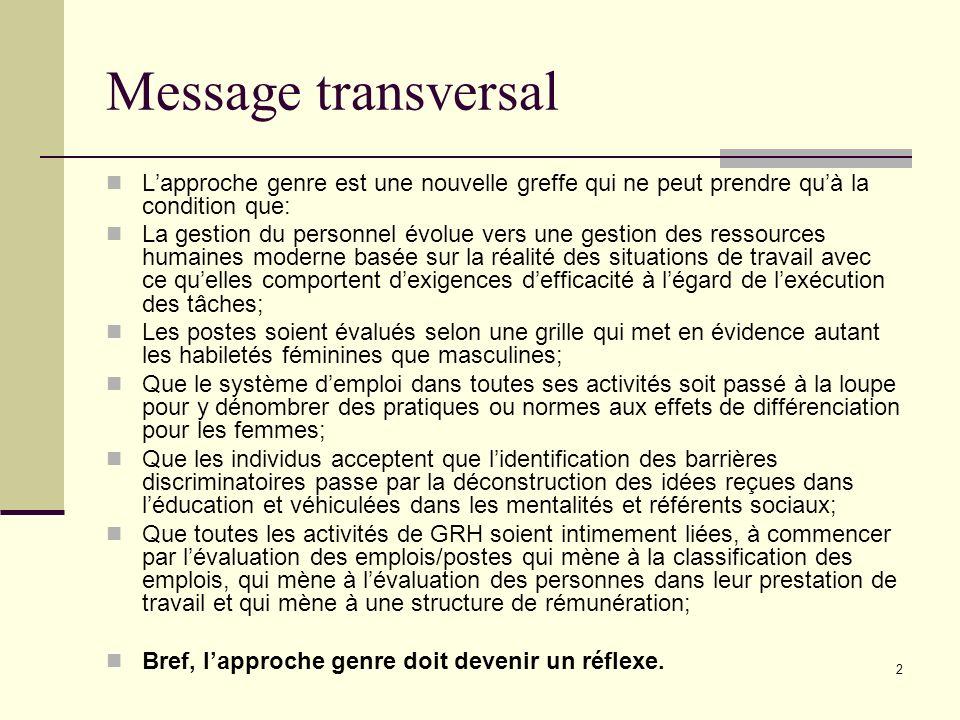 Message transversal L'approche genre est une nouvelle greffe qui ne peut prendre qu'à la condition que:
