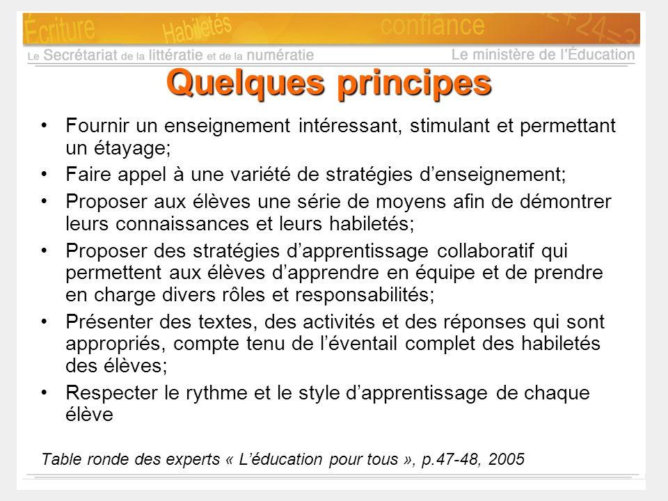 Quelques principes Fournir un enseignement intéressant, stimulant et permettant un étayage; Faire appel à une variété de stratégies d'enseignement;