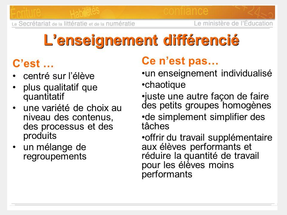 L'enseignement différencié