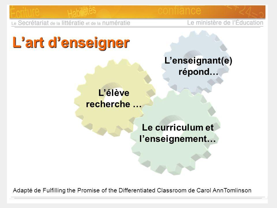 L'enseignant(e) répond… Le curriculum et l'enseignement…