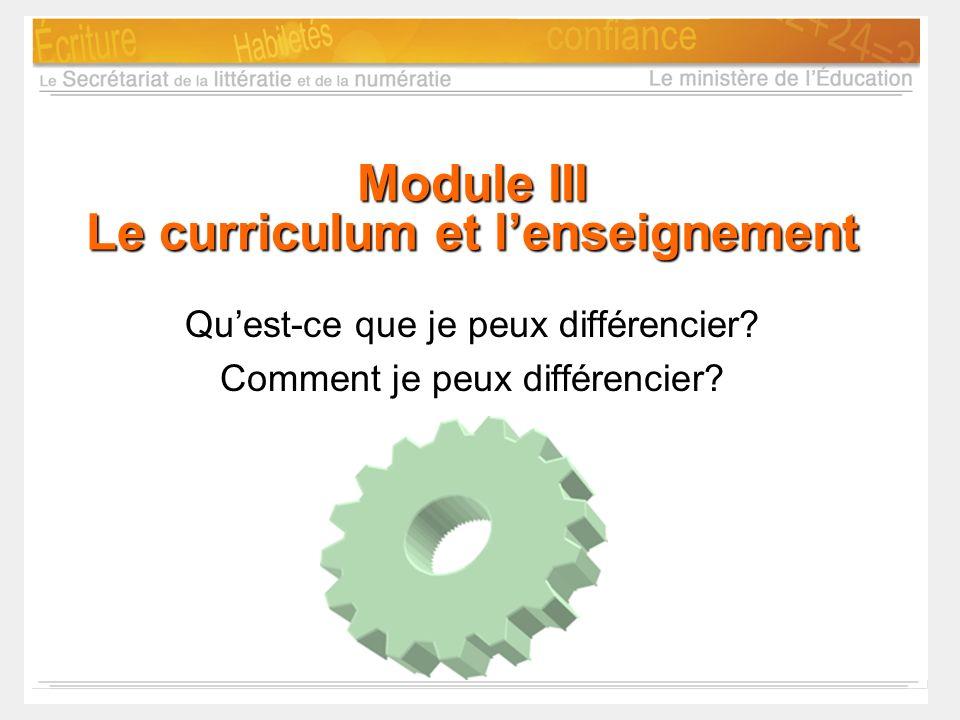 Module III Le curriculum et l'enseignement