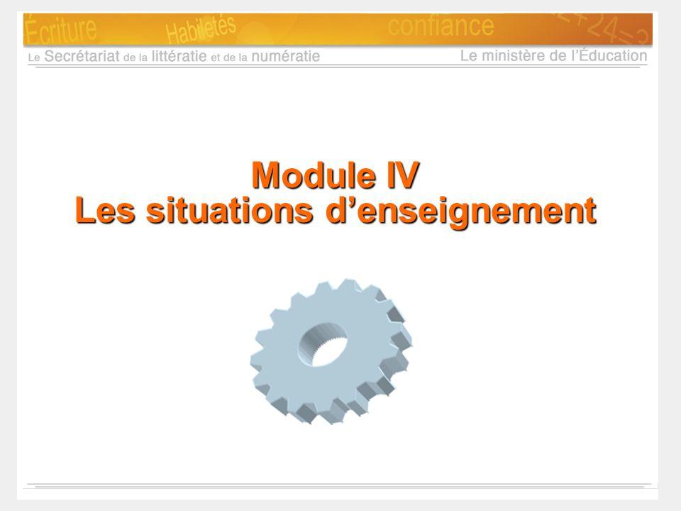Module IV Les situations d'enseignement
