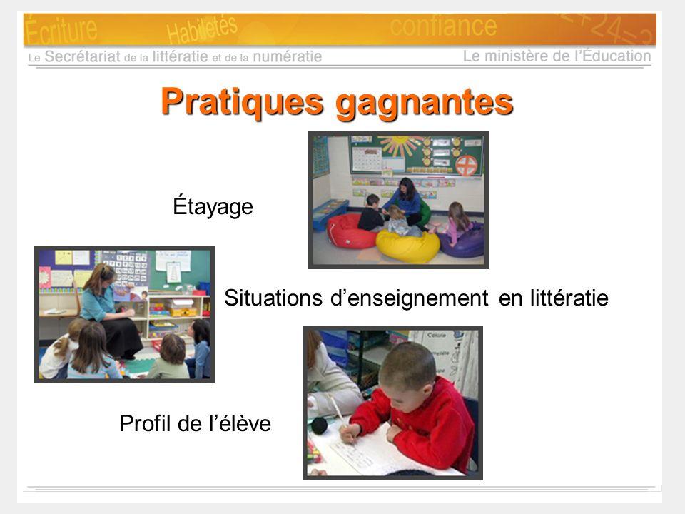 Pratiques gagnantes Étayage Situations d'enseignement en littératie