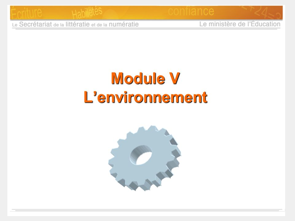 Module V L'environnement