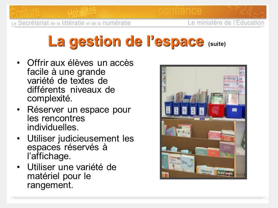 La gestion de l'espace (suite)