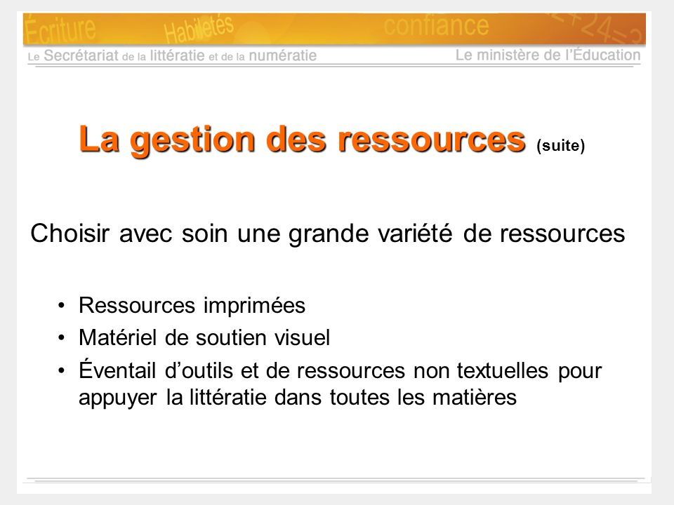 La gestion des ressources (suite)