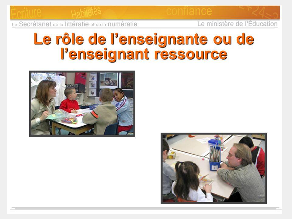 Le rôle de l'enseignante ou de l'enseignant ressource