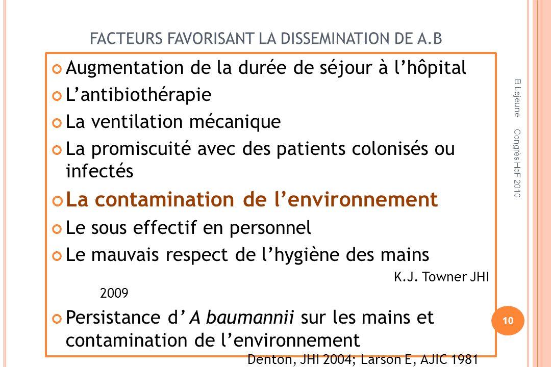 FACTEURS FAVORISANT LA DISSEMINATION DE A.B