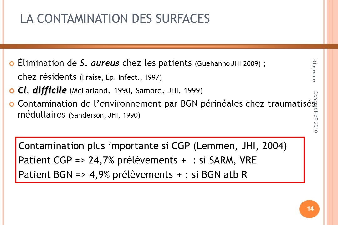 LA CONTAMINATION DES SURFACES