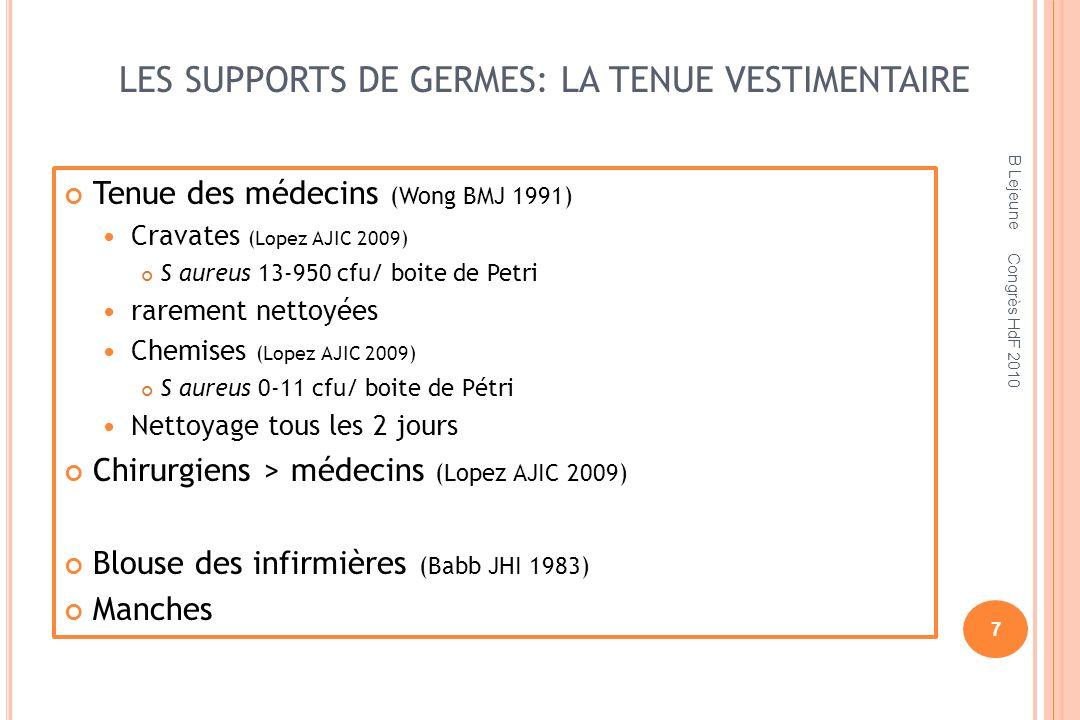 LES SUPPORTS DE GERMES: LA TENUE VESTIMENTAIRE
