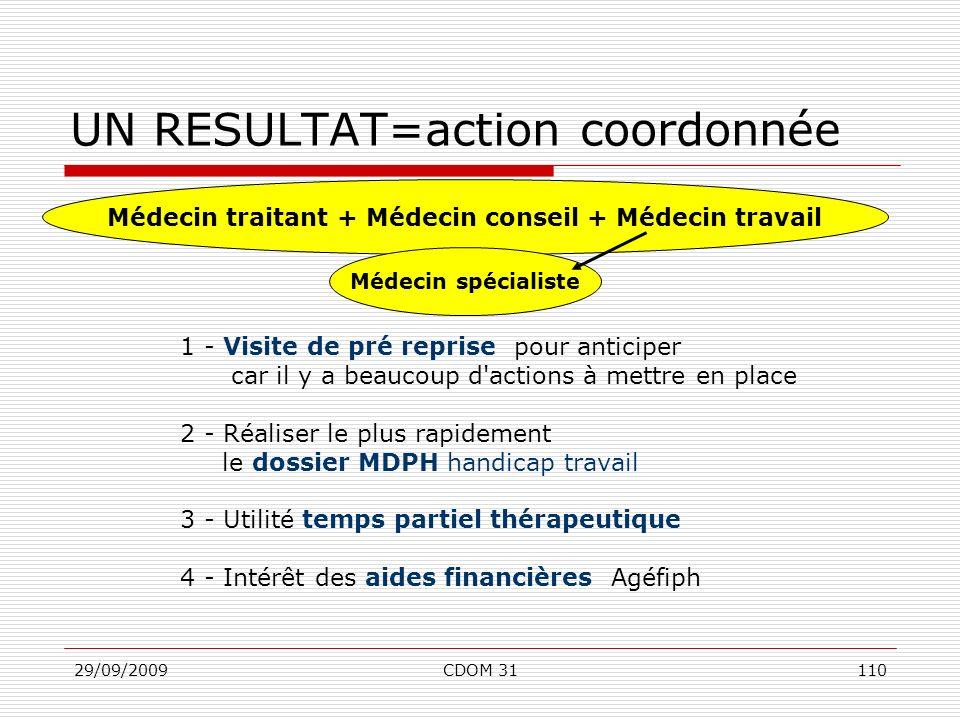 UN RESULTAT=action coordonnée