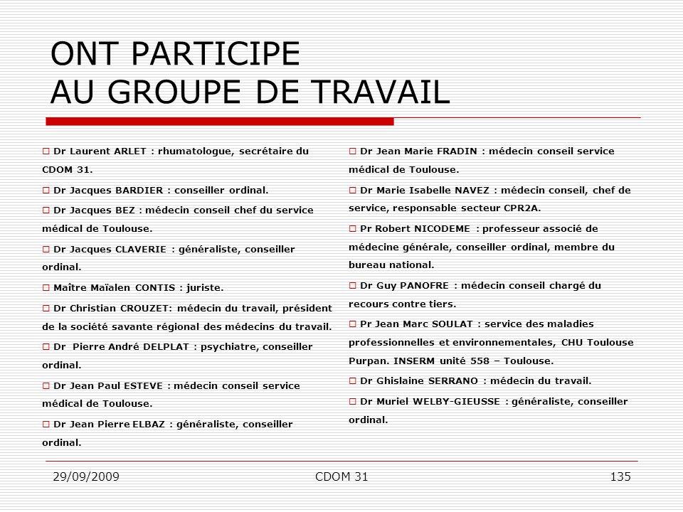 ONT PARTICIPE AU GROUPE DE TRAVAIL