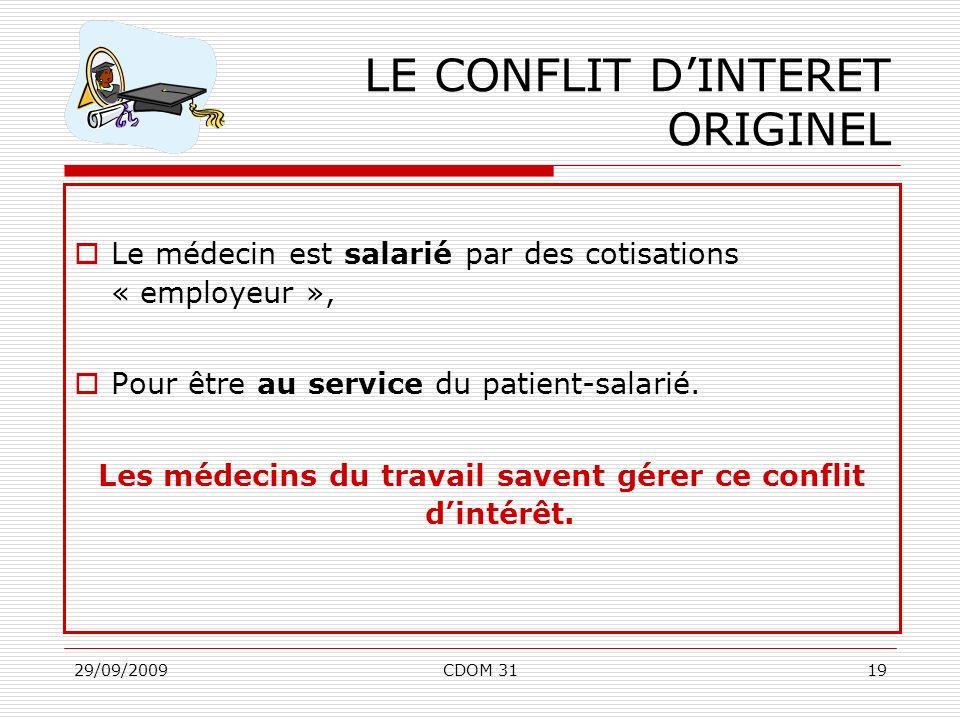 LE CONFLIT D'INTERET ORIGINEL