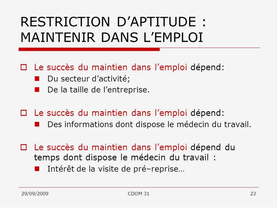 RESTRICTION D'APTITUDE : MAINTENIR DANS L'EMPLOI