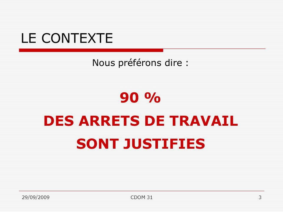 90 % DES ARRETS DE TRAVAIL SONT JUSTIFIES