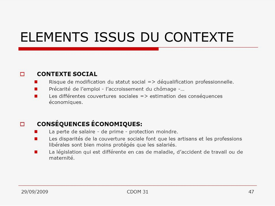ELEMENTS ISSUS DU CONTEXTE