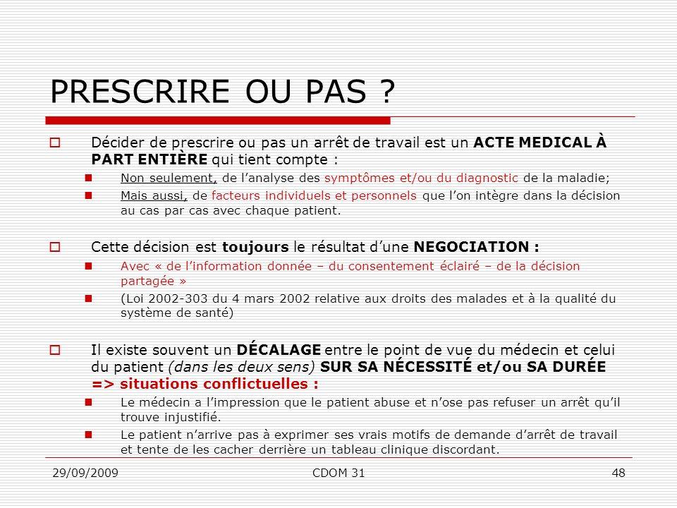 PRESCRIRE OU PAS Décider de prescrire ou pas un arrêt de travail est un ACTE MEDICAL À PART ENTIÈRE qui tient compte :