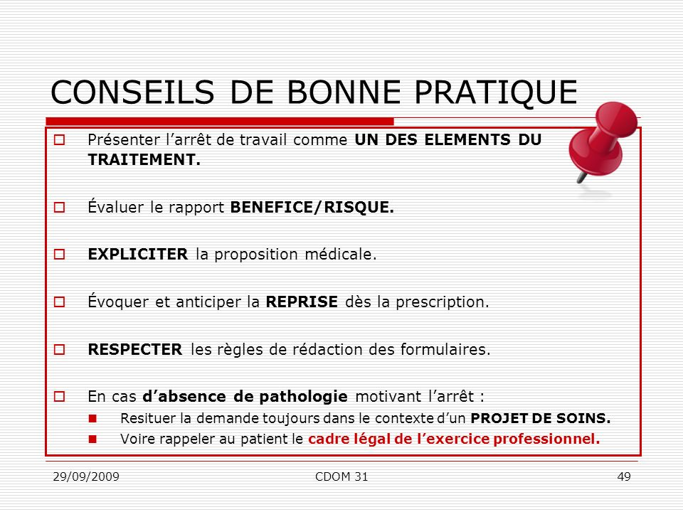 CONSEILS DE BONNE PRATIQUE