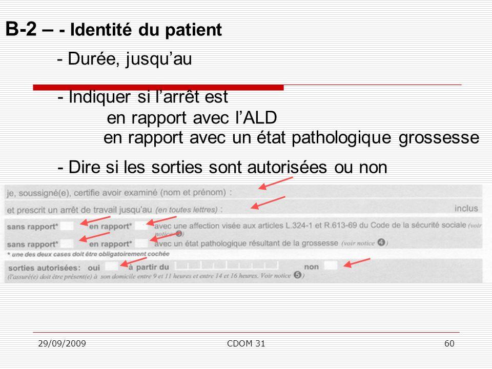 B-2 – - Identité du patient