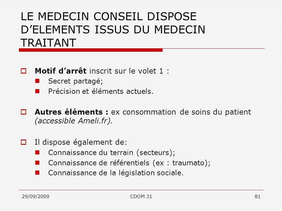 LE MEDECIN CONSEIL DISPOSE D'ELEMENTS ISSUS DU MEDECIN TRAITANT