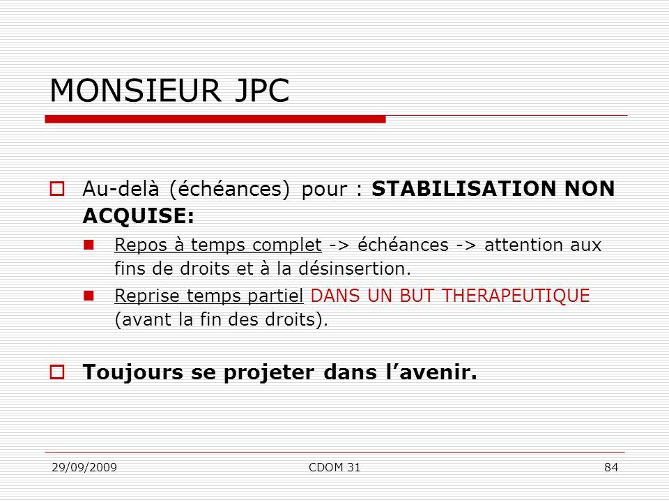 MONSIEUR JPC Au-delà (échéances) pour : STABILISATION NON ACQUISE: