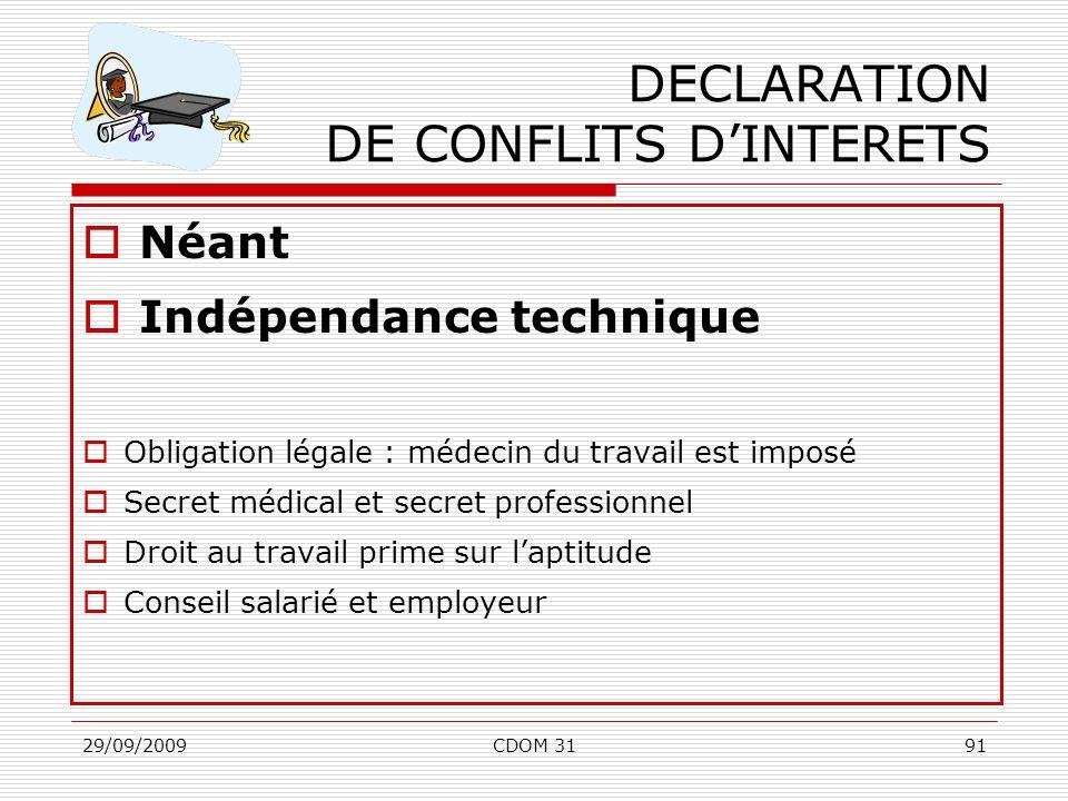 DECLARATION DE CONFLITS D'INTERETS