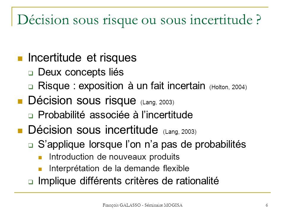 Décision sous risque ou sous incertitude