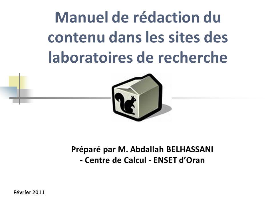 Préparé par M. Abdallah BELHASSANI - Centre de Calcul - ENSET d'Oran