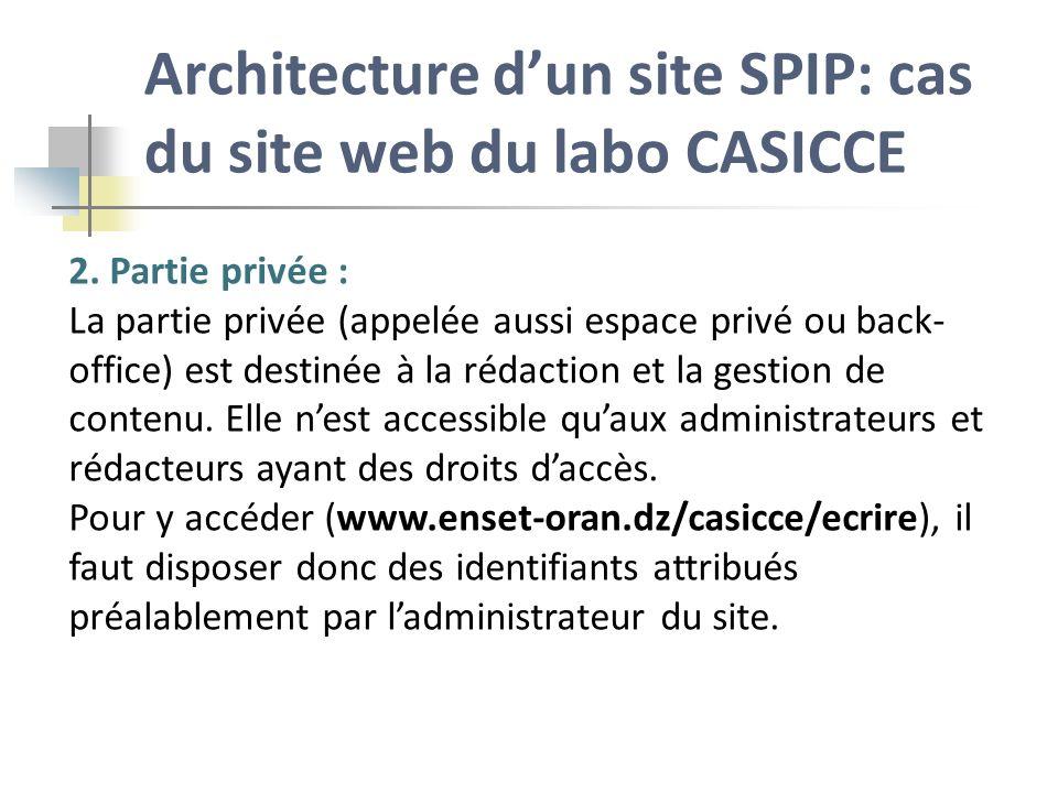 Architecture d'un site SPIP: cas du site web du labo CASICCE