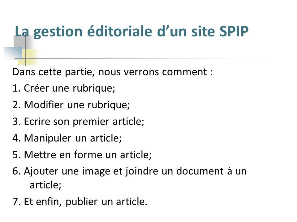La gestion éditoriale d'un site SPIP