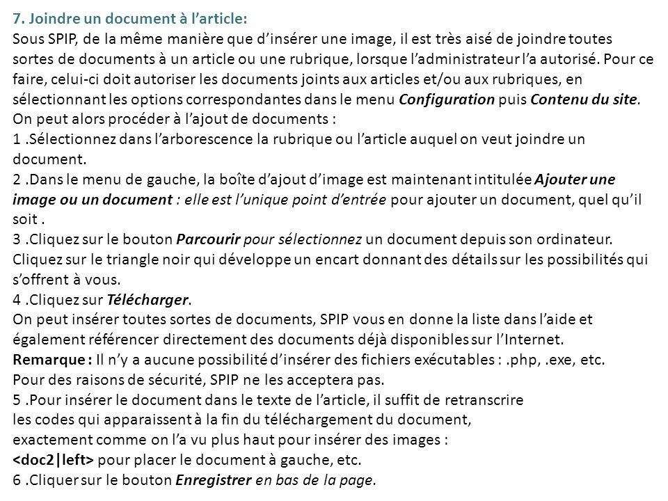 7. Joindre un document à l'article: