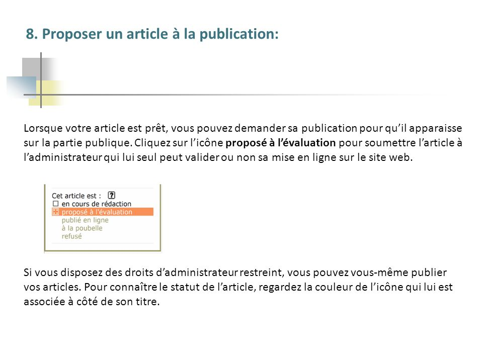 8. Proposer un article à la publication: