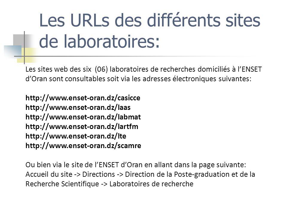 Les URLs des différents sites de laboratoires: