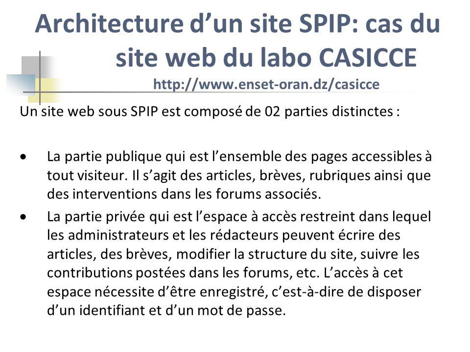 Architecture d'un site SPIP: cas du site web du labo CASICCE http://www.enset-oran.dz/casicce