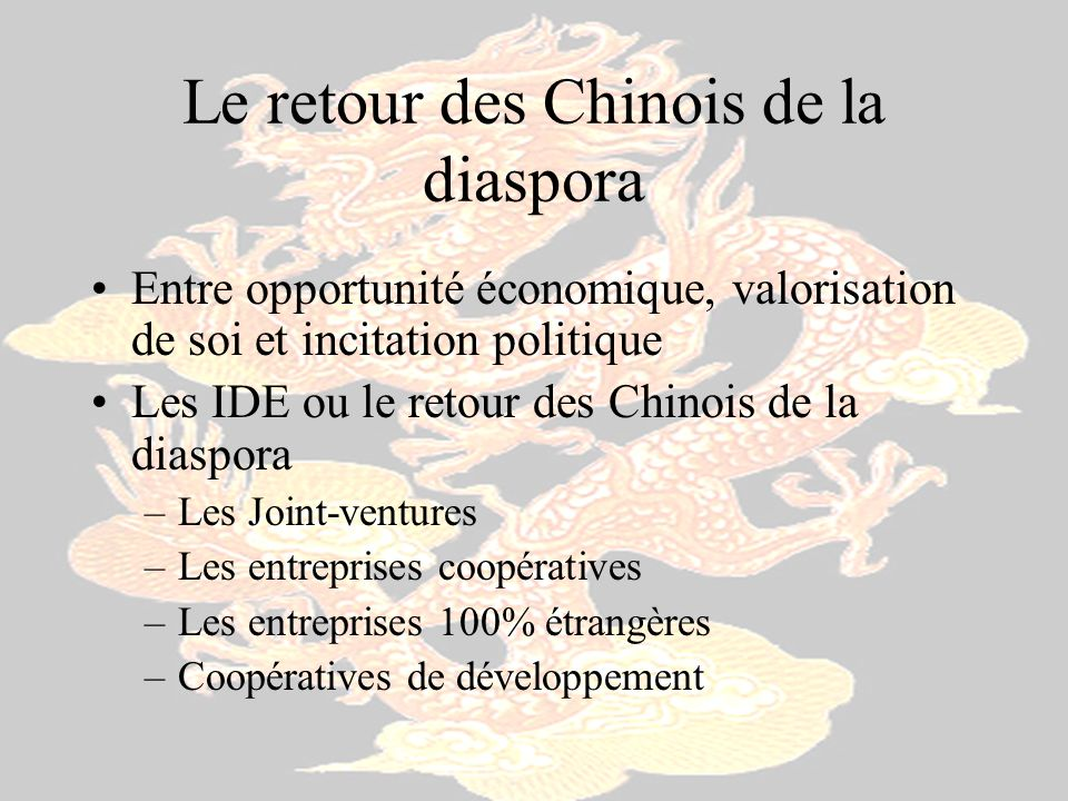 Le retour des Chinois de la diaspora