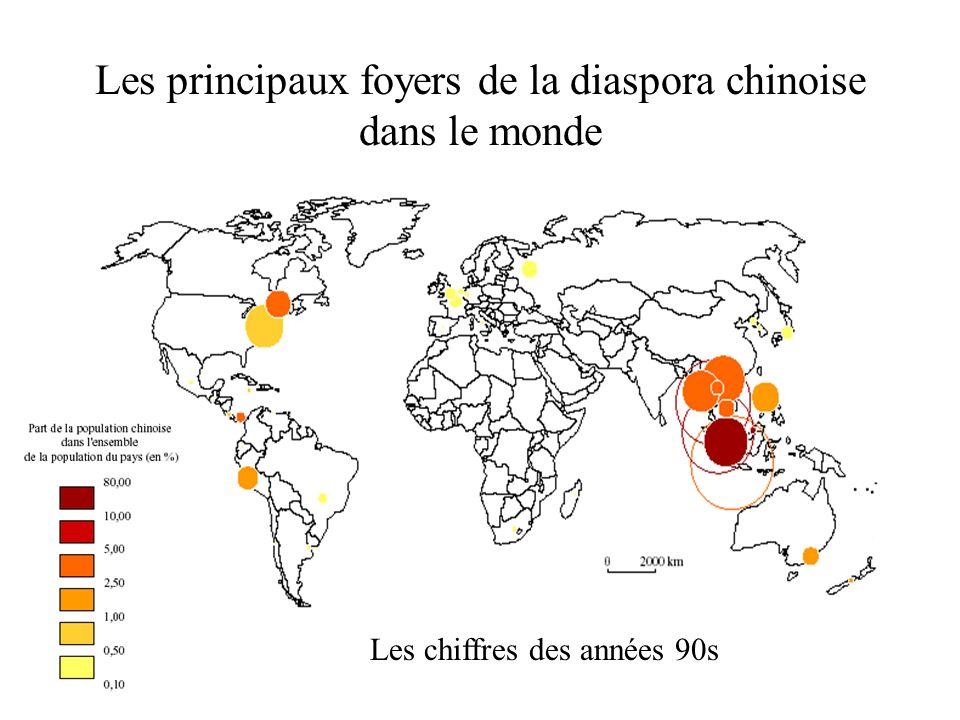 Les principaux foyers de la diaspora chinoise dans le monde