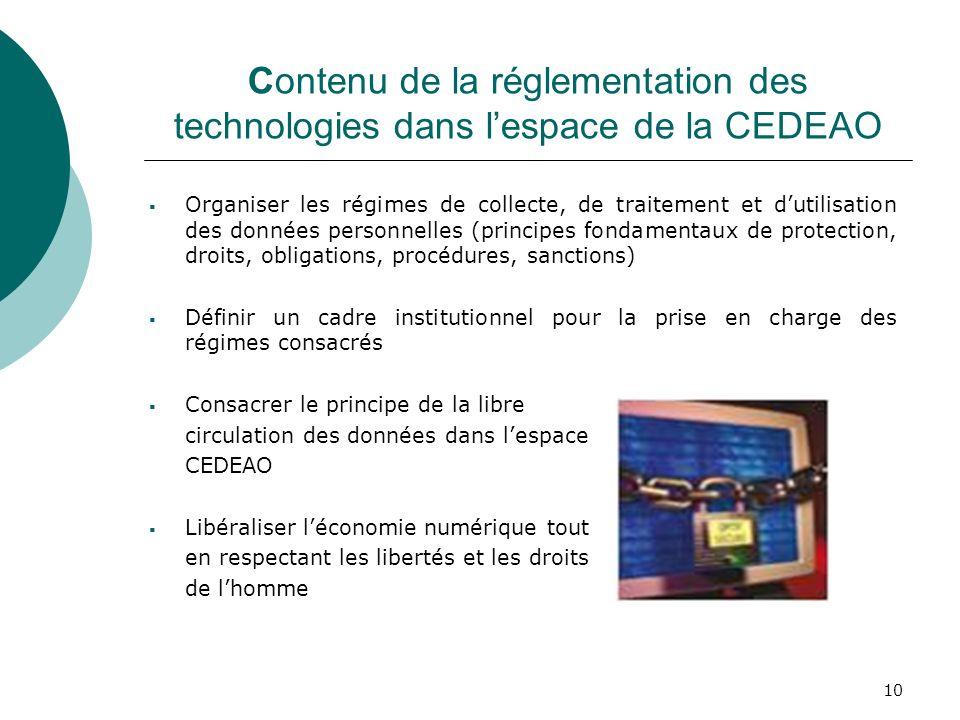 Contenu de la réglementation des technologies dans l'espace de la CEDEAO