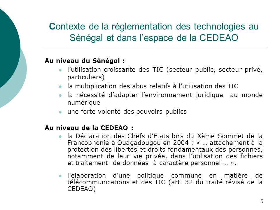 Contexte de la réglementation des technologies au Sénégal et dans l'espace de la CEDEAO