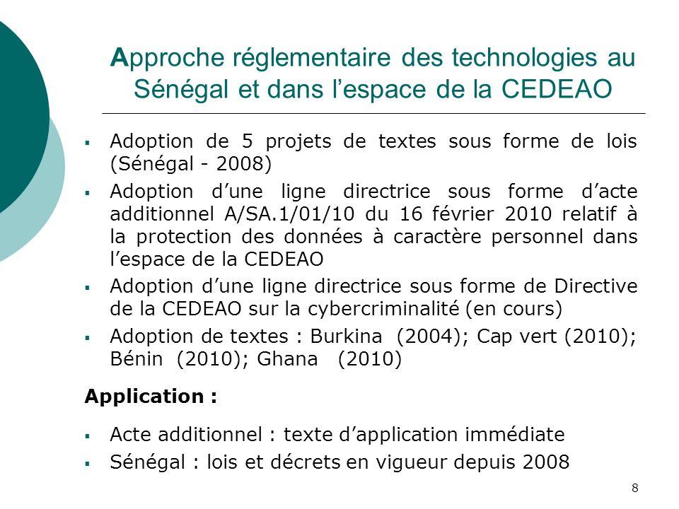 Approche réglementaire des technologies au Sénégal et dans l'espace de la CEDEAO