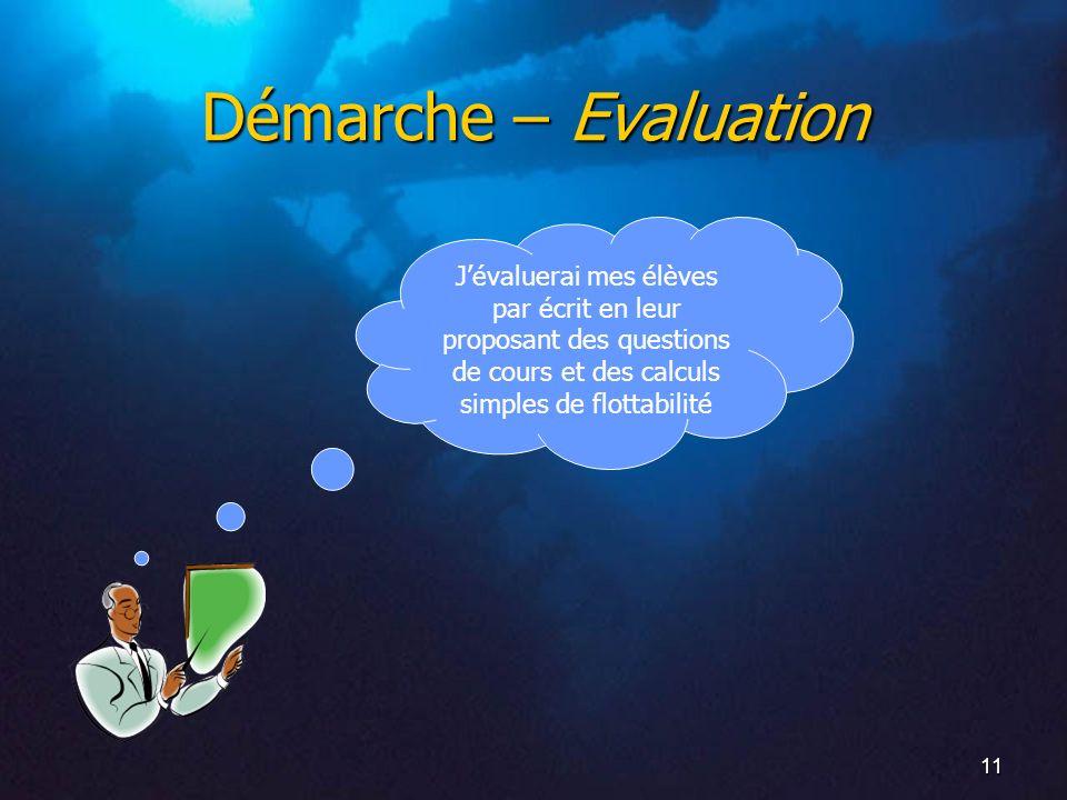 Démarche – Evaluation J'évaluerai mes élèves par écrit en leur proposant des questions de cours et des calculs simples de flottabilité.