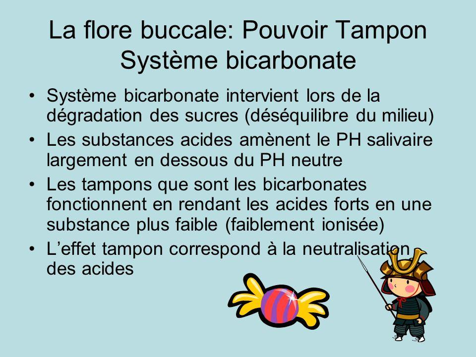La flore buccale: Pouvoir Tampon Système bicarbonate