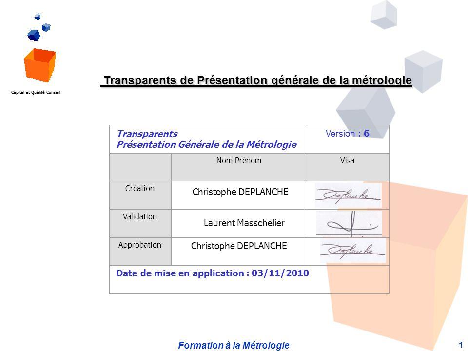 Transparents de Présentation générale de la métrologie
