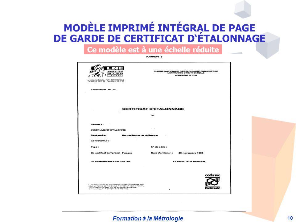 MODÈLE IMPRIMÉ INTÉGRAL DE PAGE DE GARDE DE CERTIFICAT D'ÉTALONNAGE
