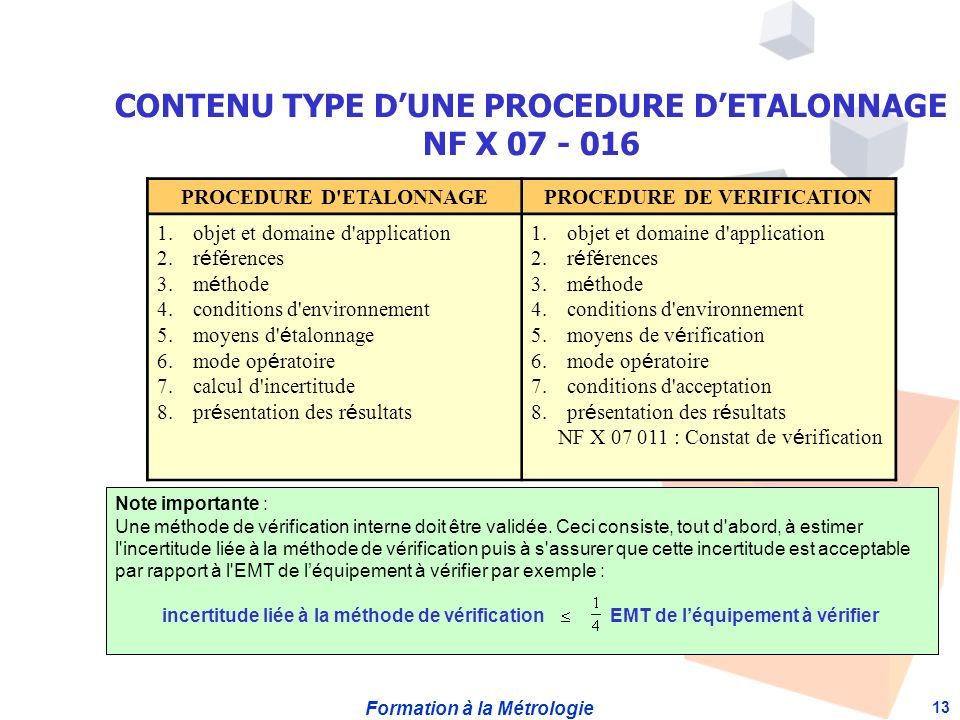 CONTENU TYPE D'UNE PROCEDURE D'ETALONNAGE NF X 07 - 016