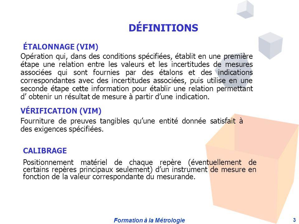 DÉFINITIONS ÉTALONNAGE (VIM)