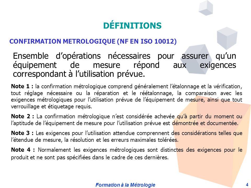 DÉFINITIONS CONFIRMATION METROLOGIQUE (NF EN ISO 10012)