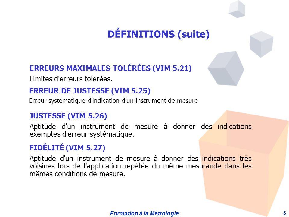 DÉFINITIONS (suite) ERREURS MAXIMALES TOLÉRÉES (VIM 5.21)