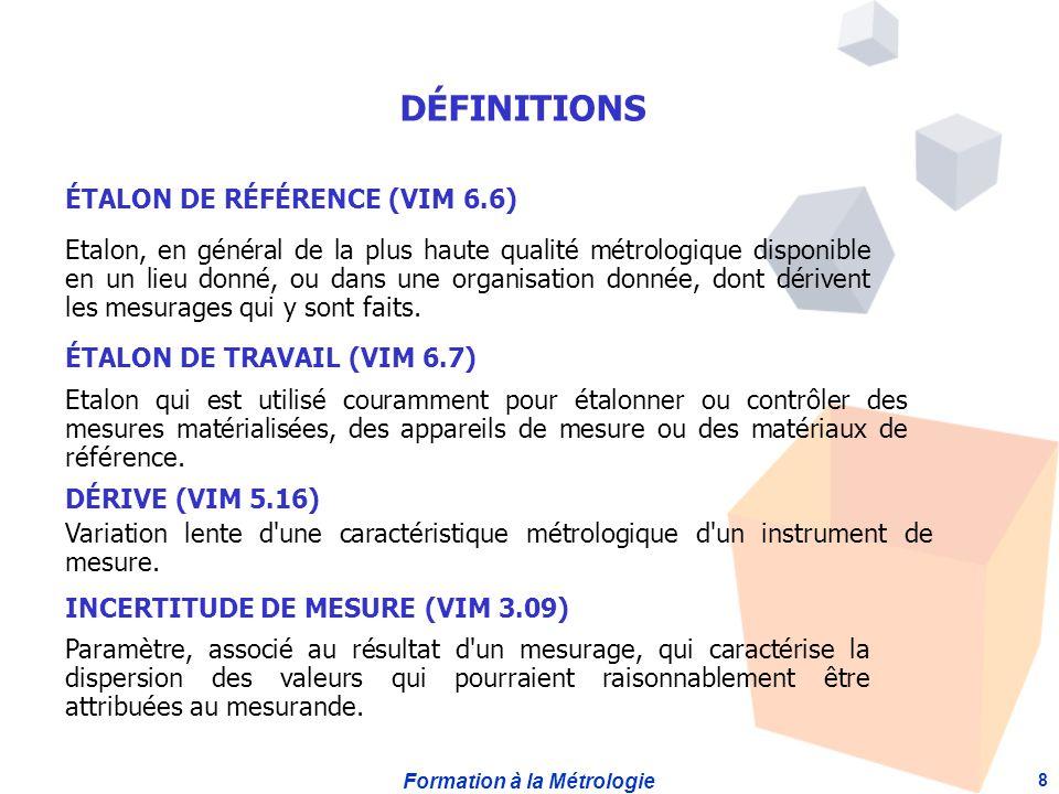 DÉFINITIONS ÉTALON DE RÉFÉRENCE (VIM 6.6)